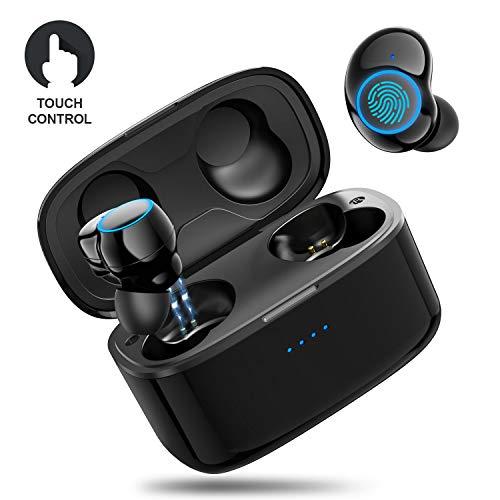 TWS Bluetooth-Kopfhörer - Sport Kopfhörer in ear mit Kabellos, Bluetooth 5.0, Touchscreen, Stereo-Audio, IPX5 Wasserdicht Tragbarer Ladestation für iPhone Android Funkkopfhörer