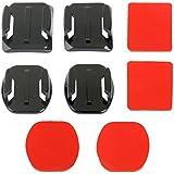 2 surface courbe + 2 plats adaptateurs de surface + 4 supports adhésifs autocollants pour GoPro Hero 1/2/3