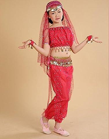 enfant Tenue de danse Danse du ventre Vêtements Point lumineux Ensemble , rose red , m