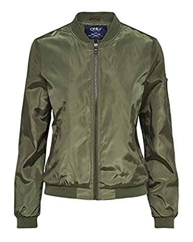 Only Damen Bomber-Jacke Zipper onlLinea Nylon Short , Größe:M,