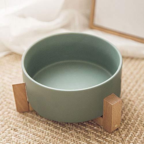 Pet Bowl handgefertigte Keramik Katze Hund Topf Pet Bowl aus Holz Wasserschale, Reis Schüssel Futternapf Katzenfutter Schüssel Hundenapf Heimtierbedarf, geeignet für Katzen und Hunde (15,5 cm * 7 cm)