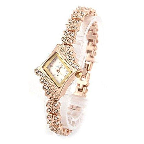 Montre Femme Bracelet en Acier Inoxydable Analogique Quartz Montres Femme Avec Des Diamants Style élégant de luxe et Montre Classique, Montre Femmes pas cher a la mode-69 (BLANC)