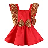 Xmiral Niñas Bebes Vestido Sin Mangas para Fiesta con Lentejuelas Bowknot Dress Sin Espalda Traje de Ceremonia para Disfraz(Rojo,12-18 Meses)