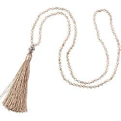Cúbico Zirconia Cristal Rebordeado Plata Buda Cabeza Largo Borla Collar Para Mujer, Ligero Marrón