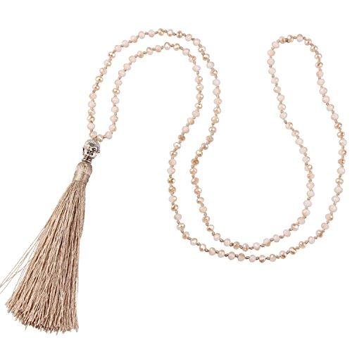 KELITCH Schmuck Kristall Bead Schnur Kette Lange Damen-Halskette Mit Silber Buddha Kopf & Quaste Anhänger - Farbe Champagner