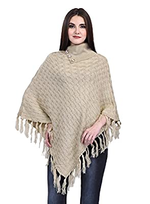 eWools Women's Woollen Winter Wear Poncho (Brown, XL)