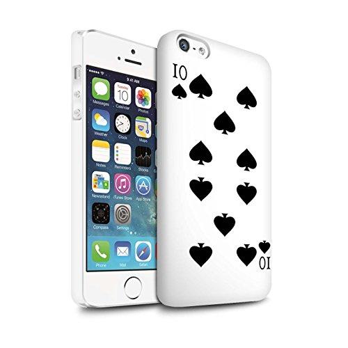 STUFF4 Matte Snap-On Hülle / Case für Apple iPhone 8 Plus / Herz-Ass Muster / Kartenspielen Kollektion 10 von Pik