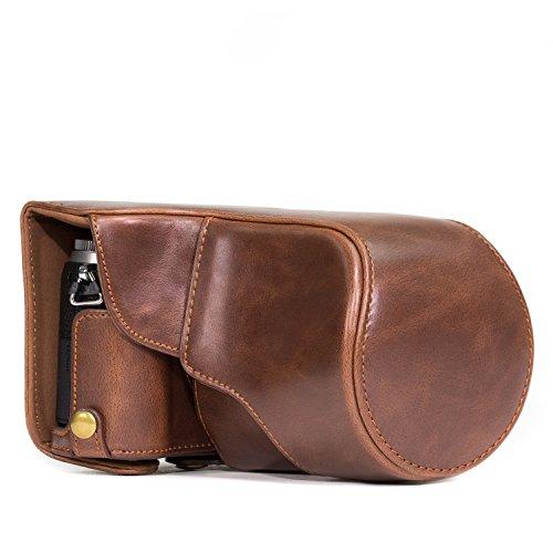 """MegaGear """"Ever Ready"""" Leder Kameratasche, Tasche, untere Öffnung Version - Schutzhülle für Panasonic Lumix GX80, GX85 (Dunkelbraun)"""