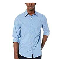 Nautica Men's Ls Wrinkle Resistant Stretch Poplin Print Button Down Shirt, Rivieria Blue, X-Large