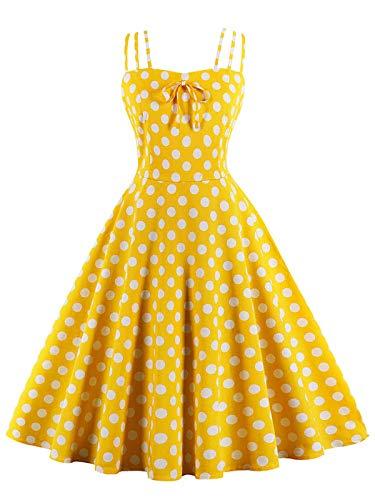 FTVOGUE Abito Senza Maniche Vestito da Donna retrò degli Anni '50 con Stampa a Pois Bowknot Elegante Abiti da Ballo(XL)