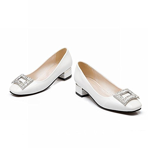Mee Shoes Damen chunky heels vierkant mit Strass Pumps Weiß