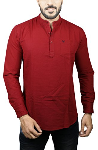 Wild Studio Men's Cotton Straight Kurta (WLD-001-RED--XXL, Red, XX-Large)
