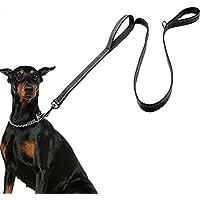 Correa de perro grande, 5 pies de largo, 2 asas reflectantes , cinturón de nylon resistente con diseño ergonómico de neopreno grueso, (150 * 25 cm)
