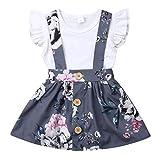 Kleinkind Säuglingsbabykleidung Set Kurzarmshirts + Strap Rock oder kurzes Baumwolloutfit Set 2 Stück 0.5-4 Jahre (0-6 Monate, Weiß)
