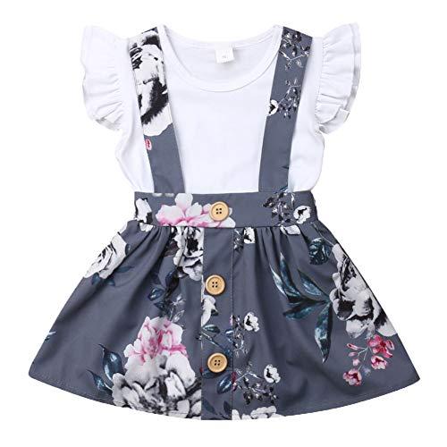 Mädchen Rock Kleinkind-shirt (Kleinkind Säuglingsbabykleidung Set Kurzarmshirts + Strap Rock oder kurzes Baumwolloutfit Set 2 Stück 0.5-4 Jahre (12-18 Monate, Weiß))