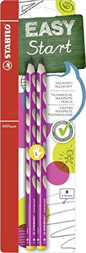 Ergonomischer Dreikant-Bleistift für Linkshänder - STABILO EASYgraph in pink - Härtegrad B - 2er Pack