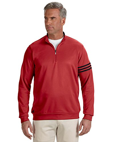 Men's climalite� 3-Stripes Pullover POWER RED/ BLACK XL (Adidas Windshirt)