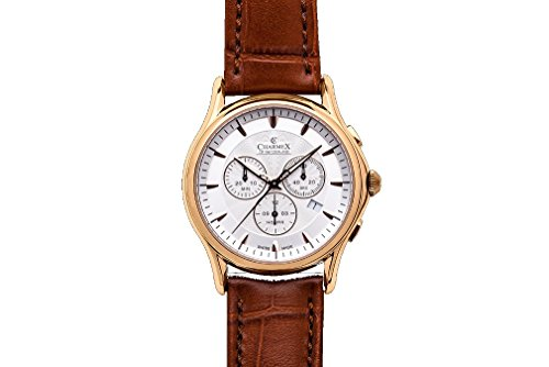Charmex Silverstone Men's 42mm Chronograph Brown Calfskin Quartz Date Watch 2675