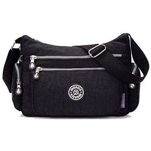 Supa Moden–Borsa a tracolla a tracolla leggero utile Daily PAC Large Handle borsa, donna, Charm Black