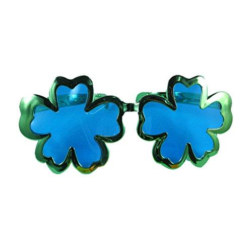 Tinksky Klee Gläser Shamrock Form Glitter Augen Brille St. Patricks Day Kostüm (Elektroschild Grün)
