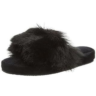 Boux Avenue Women's Fluffy Slider Open Back Slippers, (Black 01bl), M 38/39 EU