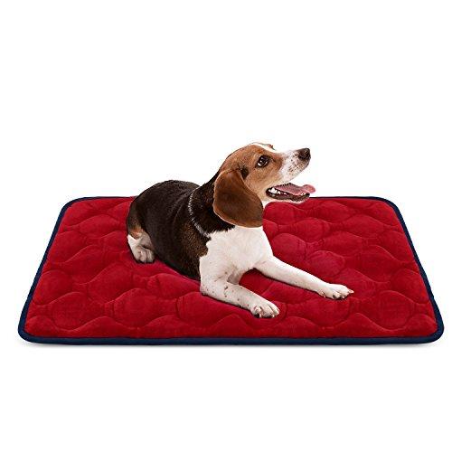 Weiche Hundebett Luxuriöse Hundedecken Waschbar Orthopädisches Hundekissen rutschfeste Hundematte Rot Mittelgroße von HeroDog