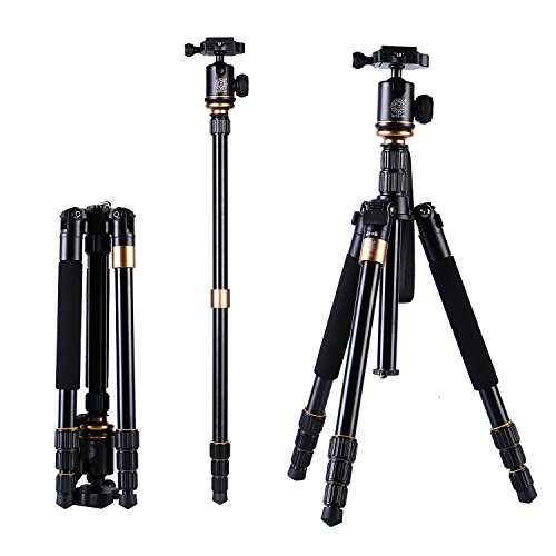 Leicht Reisestativ, LESHP Tragbare 360 Grad Kugelkopf Tripod dslr slr Kamera Stativ Monopod Einbeinstativ für Einsteiger Fotografen und Canon Sony Youtube Nikon d60 (Q-999C)