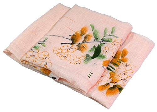 Blassrosa Blumendruck Sehr Großer Druck Von Hand Bemalt Leinen Und Baumwolle Mischung Schal (Bemalt, Von Baumwoll-leinen Hand)