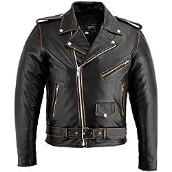 Jet Blouson Veste Moto Cuir Homme Vintage avec Protection Homologué Classique Rétro Biker Iconique Brando (Noir affligé, M)