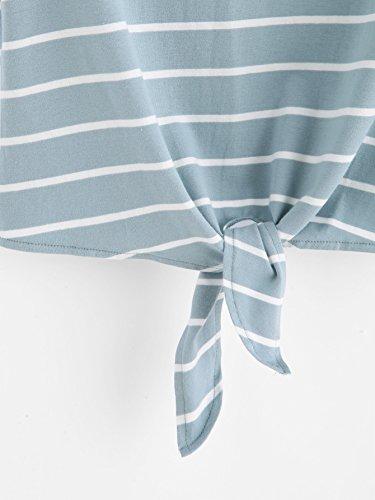 Romwe Damen Gestreift Crop Top Kurzarm Streifen Shirt Blau