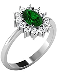 His & Her .925 Sterling Silver, Solitaire And Emerald Ring For Women