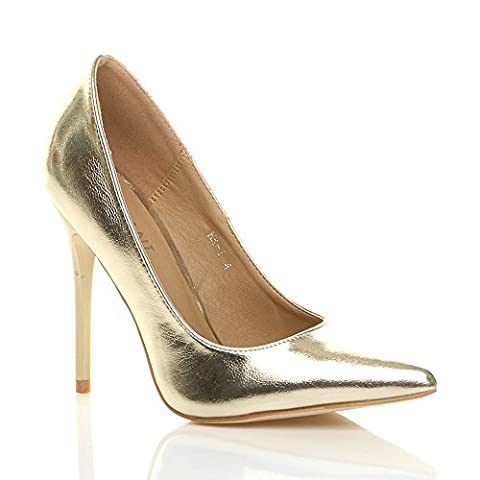 WOMENS LADIES HIGH HEEL POINTED COURT SMART PARTY WORK SHOES PUMPS SIZE 4 37