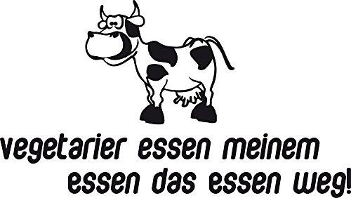 GRAZDesign 620329_40_070 Wandtattoo Wand-Spruch Vegetarier essen meinem Essen … lustig mit Kuh | Küchen-Sprüche für Küchenwände | Küchentattoo im Essbereich (71x40cm//070 schwarz)