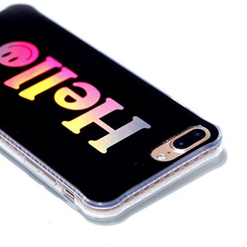 iPhone 8 Plus Custodia, iPhone 7 Plus Custodia, iPhone 8 Plus/7 Plus Cover, JAWSEU Bella Luminoso [Shock-Absorption][Anti Scratch] Protectiva Bumper per iPhone 8 Plus/7 Plus Cristallo Chiaro Cover Cas Hello