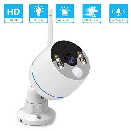 YESKAMO Überwachungskamera mit Flutlicht WiFi Kamera 1080P im Freien mit Zweiweg sprechen & Audio Aufnahme, PIR-Bewegungsmelder aktiviert Alarm, Sirene Alarm, Farbe Nachtsicht, 32G SD Card Speichern (Wlan-überwachungskameras Im Freien)