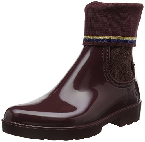 Tommy Hilfiger Damen Knitted Sock Rain Boot Gummistiefel, Rot (Decadent Chocolate 296), 37 EU