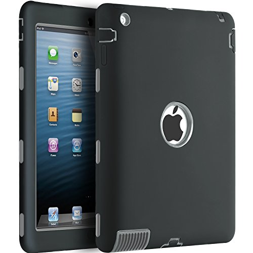 BENTOBEN iPad 2 3 4 Hülle, iPad 2 3 4 Schutzhülle stoßfest robustfest PC Silikon Cover Schutzrahmen 3 in 1 Heavy Duty Case Etui Schale Tasche Kindersichere Hülle für iPad 2 3 4 Schwarz (3. Generation Gummi)