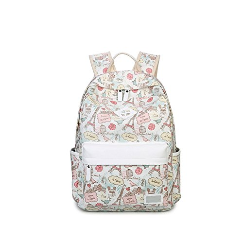 qearly-unisex-scolaire-loisirs-poids-leger-sac-a-dos-sac-a-dos-cartable-backpack-daypack-blanc-creme