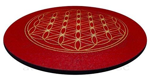 atalantes spirit - Blume des Lebens-Untersetzer für Gläser – 4 Stück im SET - Farbe: rot - Größe: 9,5 cm – Lebensblume-Symbol - Wurzelchakra