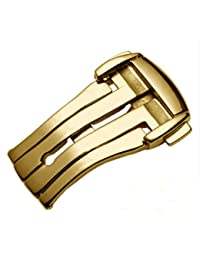 [Richie strap] Deployment Clasp Buckle L316 Stainless Steel for Omega De Ville Watch Band Straps (16mm, Gold)