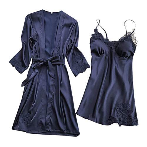 Minetom Donna Indumenti Lunghi da Notte 2 Pezzi in Raso Pizzo Sexy Kimono Mini  Abito con b94570438bc
