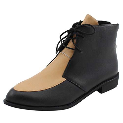 Stiefel Damen Flach Schnürsenkel Reißverschluss Zweifarbig Stiefeletten Mode Freizeit Runder Zeh Damenschuhe Kurzschaft Schuhe (36 EU, Khaki)