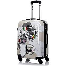 G. Kaos–Trolley Maleta de cabina 4ruedas rígida de ABS policarbonato–Protector de pantalla de quitar–para voli Come rayanair 50cm & Easyjet 55cm–Fantasia Three countries
