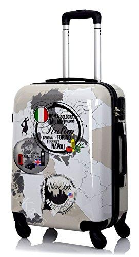 G. Kaos - Trolley maleta de cabina con 4 ruedas rígida de ABS policarbonato, película protectora para eliminar, para vuelos como Ryanair 50 cm y Easyjet 55 cm, fantasía tres países Three Countries 55cm Small