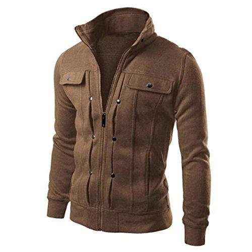 Elecenty Herren Winterjacke, Warme Dicken Mantel Schlank Männer Outwear Pullover Winter Langarm Sweatshirt Reißverschluss Oberbekleidung Parka Sweatjacke (M, Kaffee) (Park-kaffee)