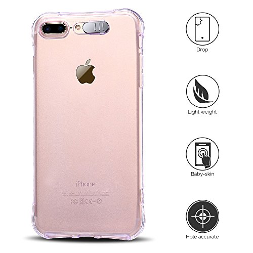 Coque iPhone 7 Plus (5.5 pouce) , TPU Transparente Case Silicone Slim Souple Étui de Protection Flexible Soft Cover Anti Choc Ultra Mince Couverture Bumper Anfire Housse pour iPhone 7 Plus - Rose Violet