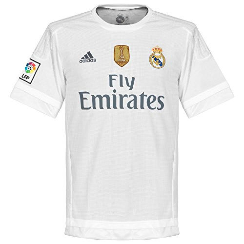 adidas 1ª Equipación Real Madrid CF 2015/2016 - Camiseta oficial con la insignia de campeón del mundo para hombre, color blanco, talla XS