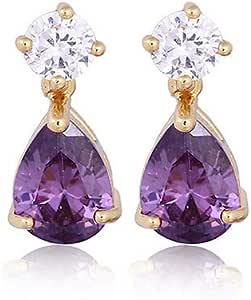 316 L acier inoxydable Fleur de Lis Violet Zircon Stone Fashion Clous Boucle d/'oreille 4Y007A