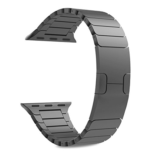 Acero Correa para Apple Watch SERIES 1/2/3 - Reemplazo SmartWatch Band de Reloj de Acero Inoxidable Bracelete con Hebilla Plegable de Doble Botnnes Pulsera para Apple Watch (42mm,Espacio Gris)