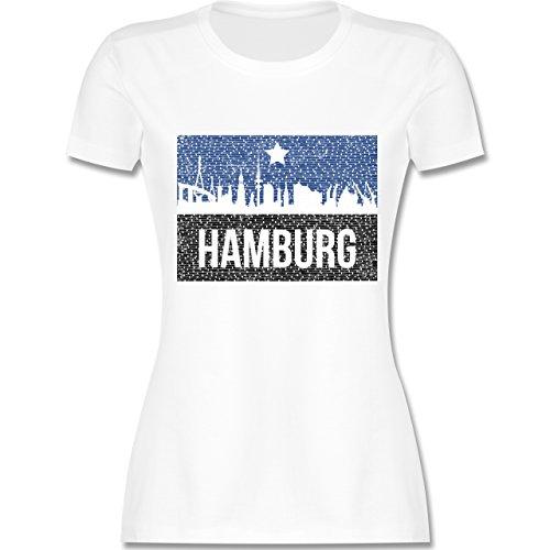 Fußball - Fußball Hamburg - M - Weiß - L191 - Damen T-Shirt Rundhals